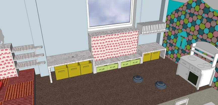 U-Möbel geparkt als Stauraum