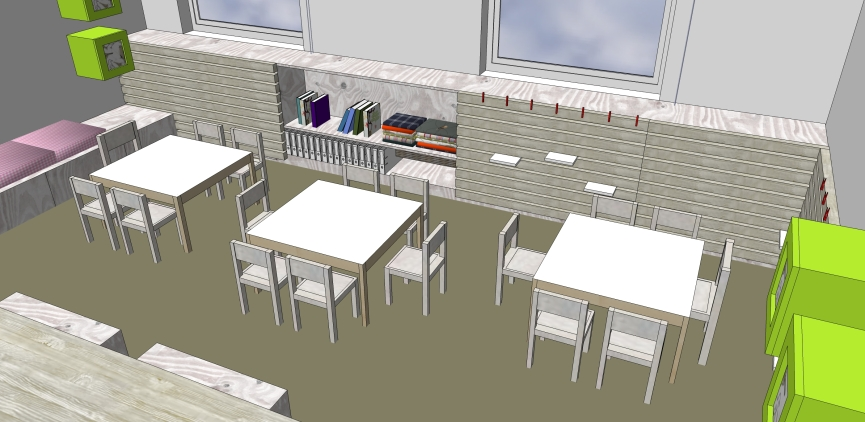 Atelier-Raum (Ü3) Ausstellungselement Heizkörperverkleidung