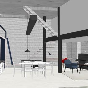 Livingroom + open kitchen